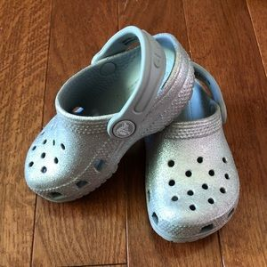 Toddler Crocs Silver Glitter